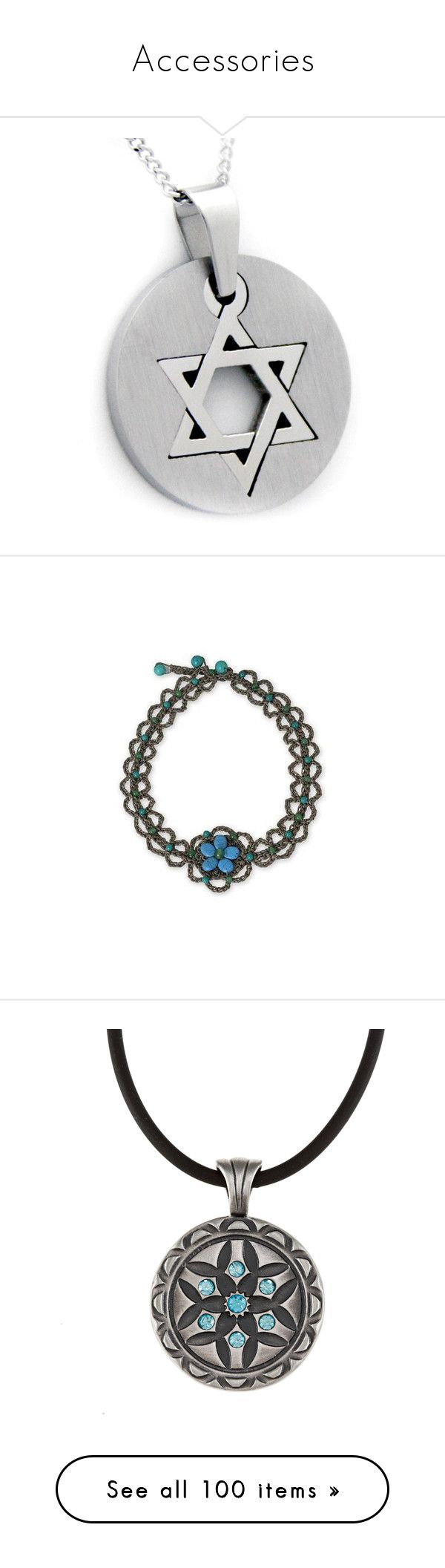 """""""Accessories"""" by bellathepotterhead ❤ liked on Polyvore featuring jewelry, necklaces, stainless steel, long pendant, star of david necklace, stainless steel pendant necklace, long chain necklace, star necklace, beaded and calcite"""