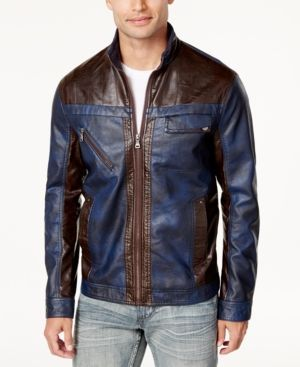 INC Men's Colorblocked Faux Leather Jacket, Created for Macy's - Blue 3XL