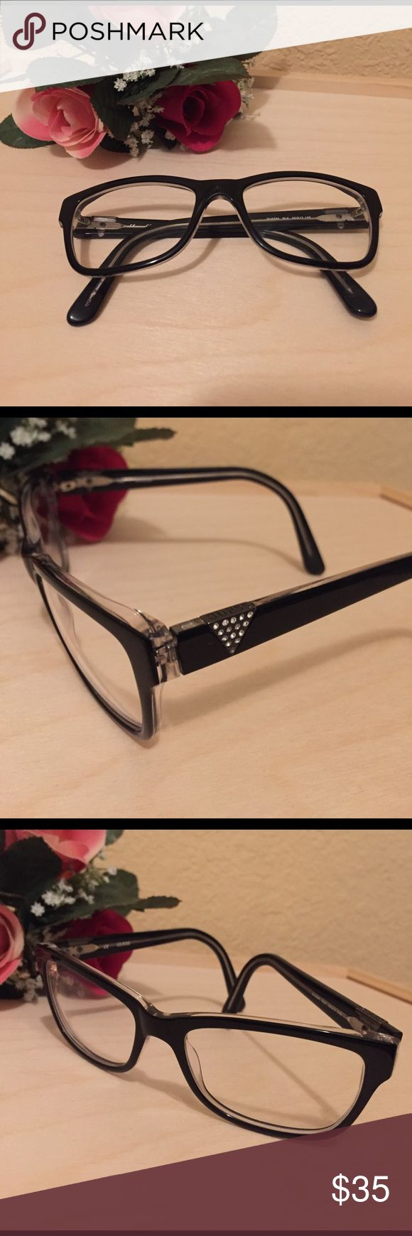 Guess Black Framed Glasses Super hip black frames glasses 👓 by Guess. Low RX black, with clear interior. Get these frames at a nice low price and send them off to have your RX added! Sorry, no case with these. Guess Accessories Glasses