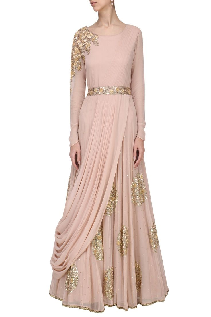 EKRU BY EKTA AND RUCHIRA Blush Pink Embroidered Drape Gown with Embroidered Belt. Shop Now! #ekrubyektaandruchira #ethnic #blushpink #embroidered #drapegown #belt #indianfashion #indiandesigners #perniaspopupshop #happyshopping