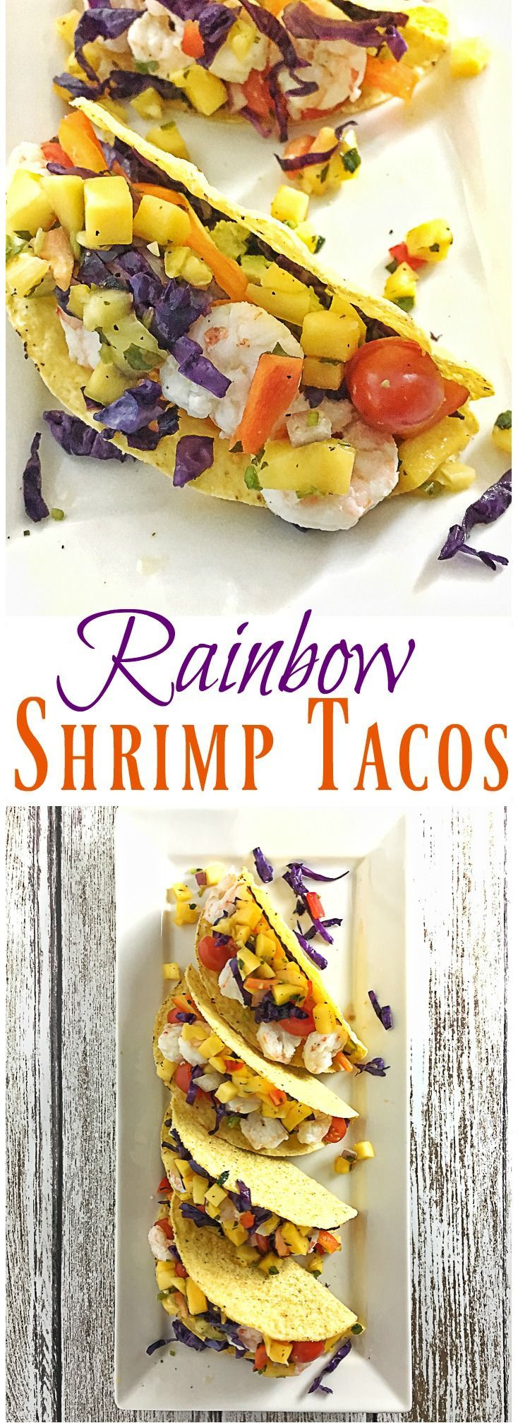 Get more fruit and vegetables into your lunch or dinner with these delicious shrimp tacos. Recipe at http://Teaspoonofspice.com