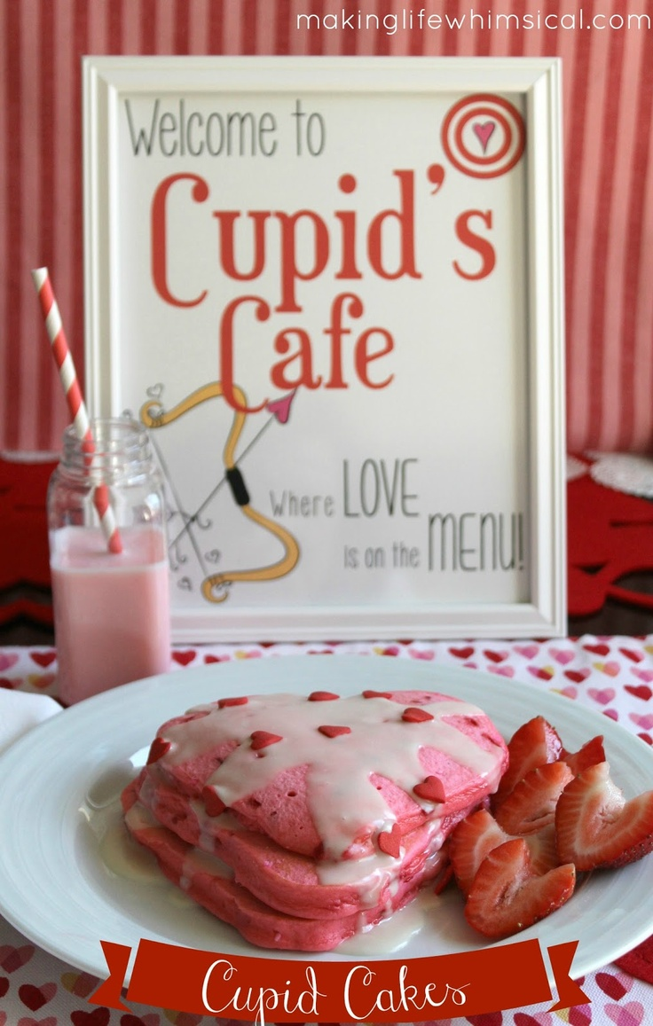 Cupid Cakes! (Recipe and FREE PRINTABLES) for Valentine's Day breakfast!