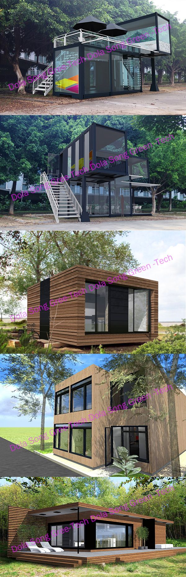 Modular flat packed cargo container size houses
