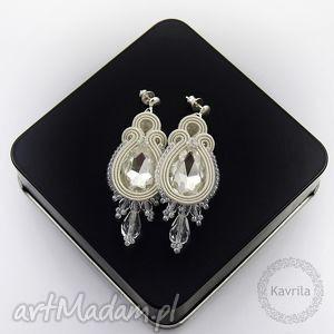 kolczyki ślubne licira crystal ivory soutache, sutasz, ślubne, stylowe