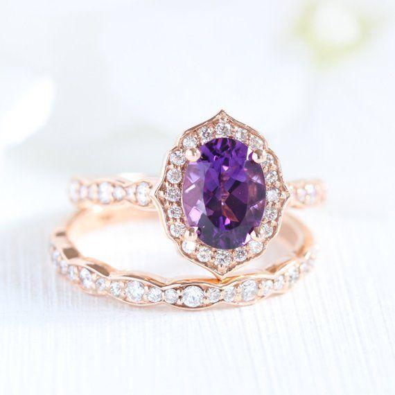 Bridal Set Vintage Floral Amethyst Engagement Ring And Etsy In 2020 Purple Gemstones Rings Amethyst Ring Engagement Wedding Ring Sets