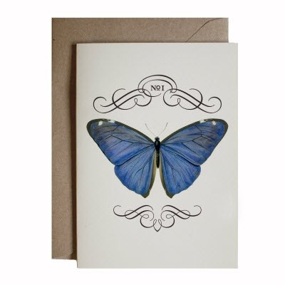 Butterfly 8 Card Set These beautiful notecards feature all of our signature designs printed on luxurious, creamy cardstock and come individually wrapped with natural-coloured recycled envelopes. Size: A6 £20.00