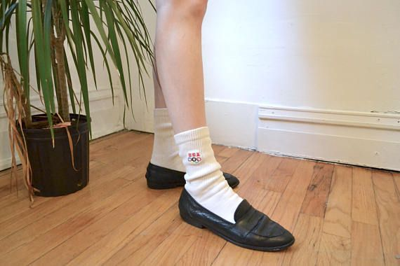 Retro 1980's USA Olympic Games white cotton crew socks