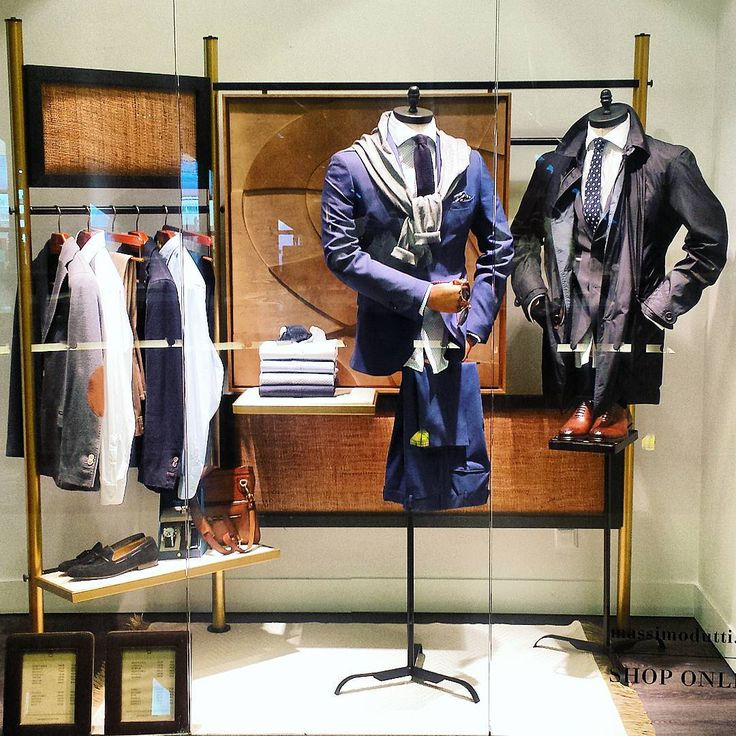 """MASSIMO DUTTI,Stary Browar, Poznan, Poland, """"The effectiveness of the arrangement lies in the manner in which the items are presented"""", pinned by Ton van der Veer"""