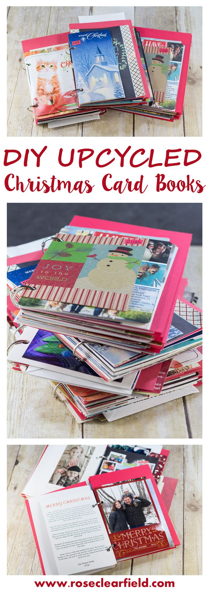 Upcycled Christmas Card Books Tutorial | http://www.roseclearfield.com