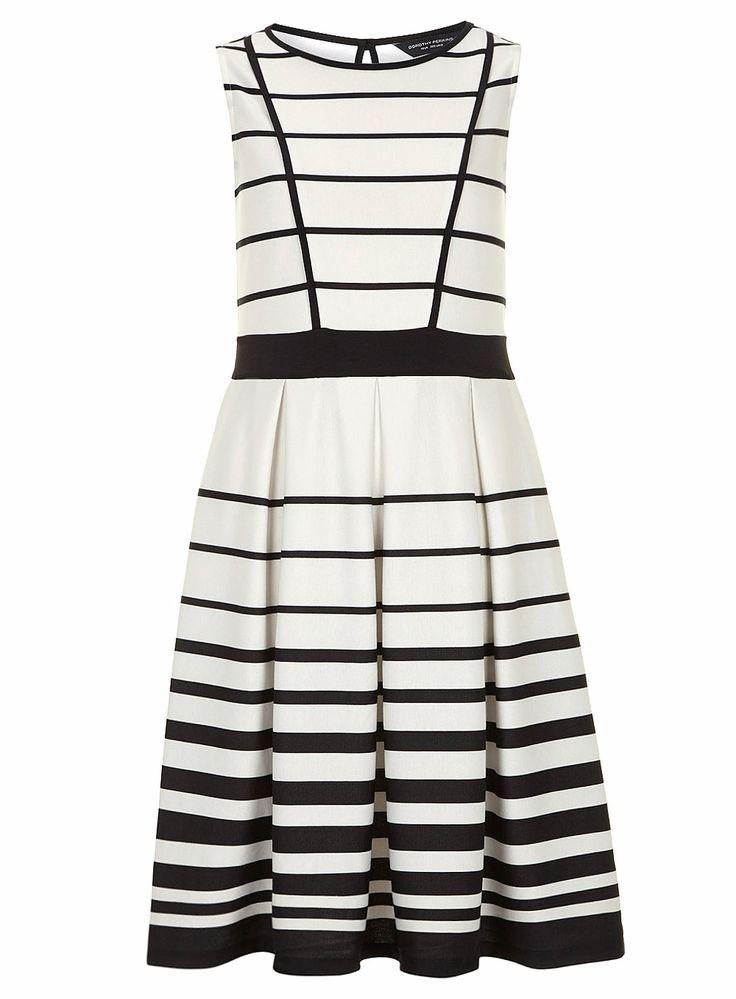 Robe noire et blanche à rayures - Robes Ajustées & Évasées - Robes - Dorothy Perkins France