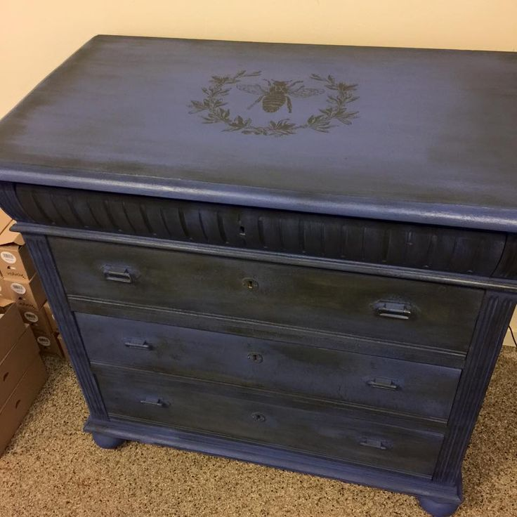 Painted in Nordic Chic Deep Blue with a wash in Nordic Chic Slate and stencil from Artisan Enhancements.