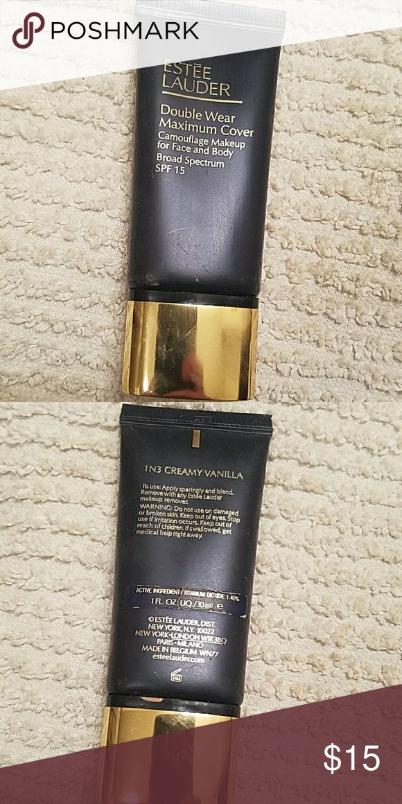 Estee Lauder Double Wear Maximum Cover 1N3 in shade 1N3 Creamy Vanilla. Used only once so 99% remaining Estee Lauder Makeup Foundation