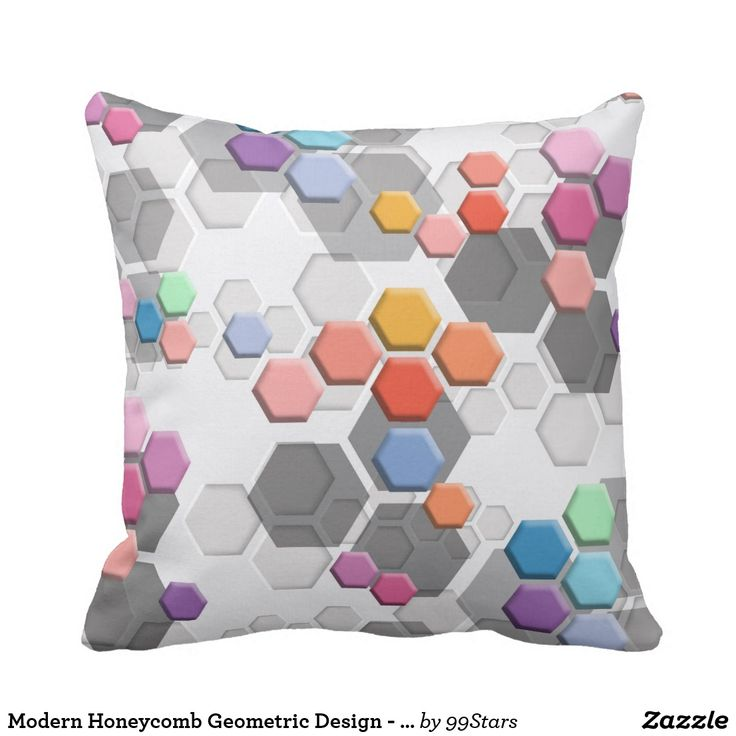 Modern Honeycomb Geometric Design - Pastel colors Throw Pillow