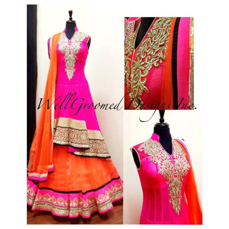 Check out this Breathtaking Hot Pink / Coral Lachha from Wellgroomed Designs Inc #Neon Lengha #Hotpink #Coral #Lacha #Highlow #Couture