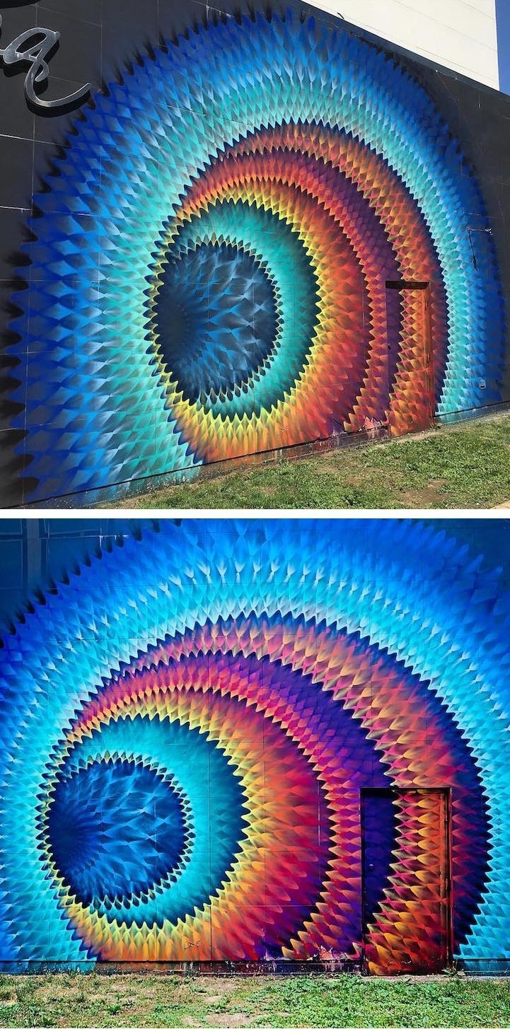 Hypnotic mural by artist Hoxxoh | mural | street art | optical illusion art | optical illusions | outdoor painting