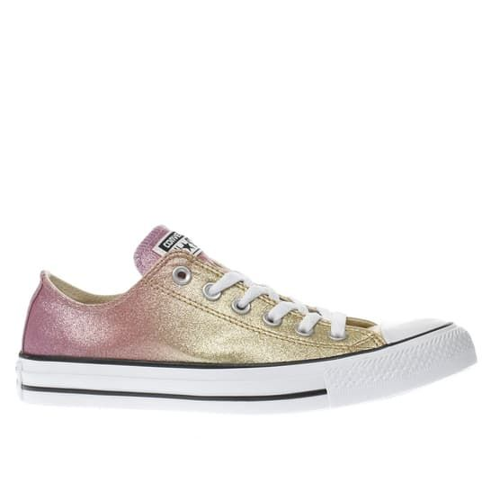 41ad072afe7fd4 womens gold converse all star ombre glitter ox trainers