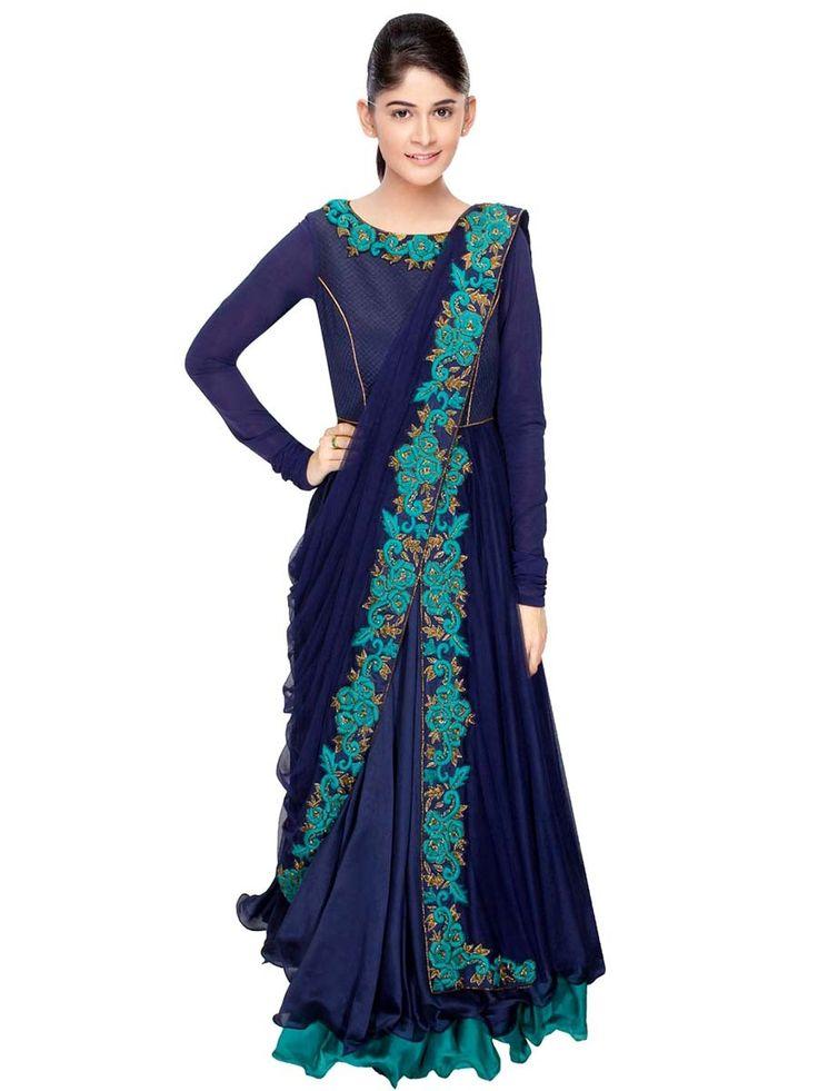 Party wear Anarkali with resham,beads and zari work. Item Code: SLVRC297S http://www.bharatplaza.com/new-arrivals/salwar-kameez.html