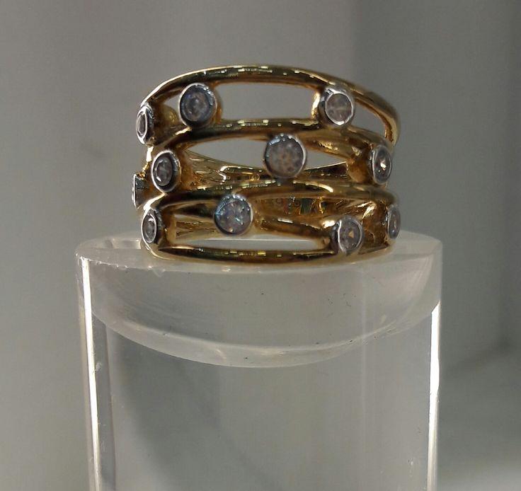Espectacular anillo de Plata con baño de Oro 18K de 4 filas cruzadas. #joyeria #jewelry #plata #bañodeoro #beautiful
