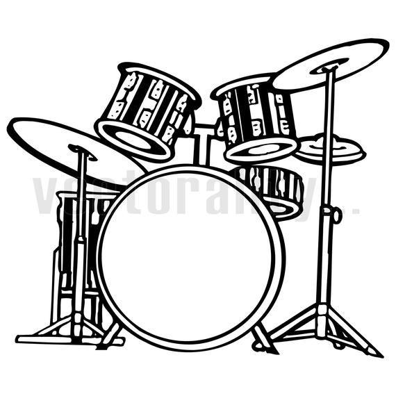 Drum Kit Drums Drummer Cymbals Music Band Vector Art File Etsy Drum Set Drums Drums Art