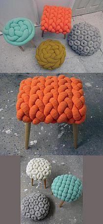 The prettiest wool stools. These are adorable. What would I need to crochet a huge chain like this? Just do a hand chain with a stuffed tube of fabric?