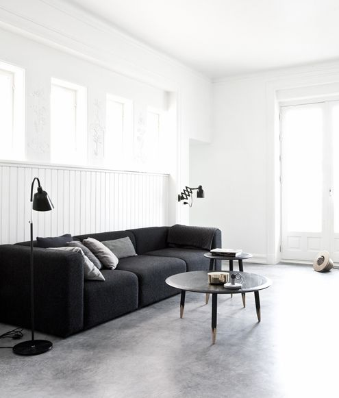 norm architects copenhagen architecture and design studio concrete floor black lamps black. Black Bedroom Furniture Sets. Home Design Ideas