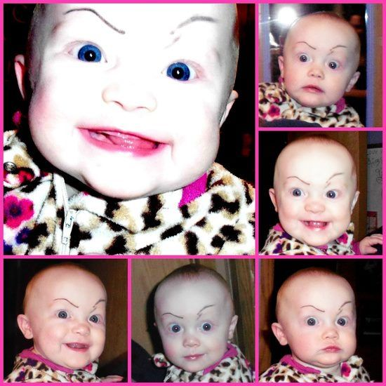 Drawing crazy eyebrows on baby=genius lol this actually freaked me out at first....still made me laugh uncontrollably!