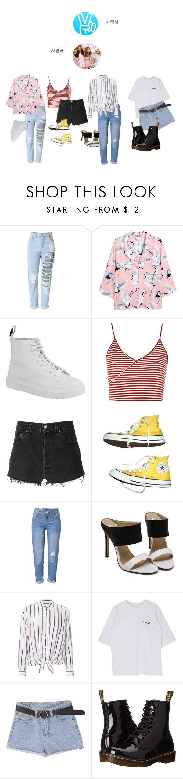 """""""Vlive MV reaction and 16M views"""" by arenbeofficial ❤ liked on Polyvore featuring H&M, Dr. Martens, Topshop, RE/DONE, Converse, WithChic and Equipment"""