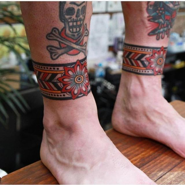 Colorful Traditional Ankle Band Tattoos By Vic James Ankle Band Tattoo Leg Tattoo Men Leg Tattoos