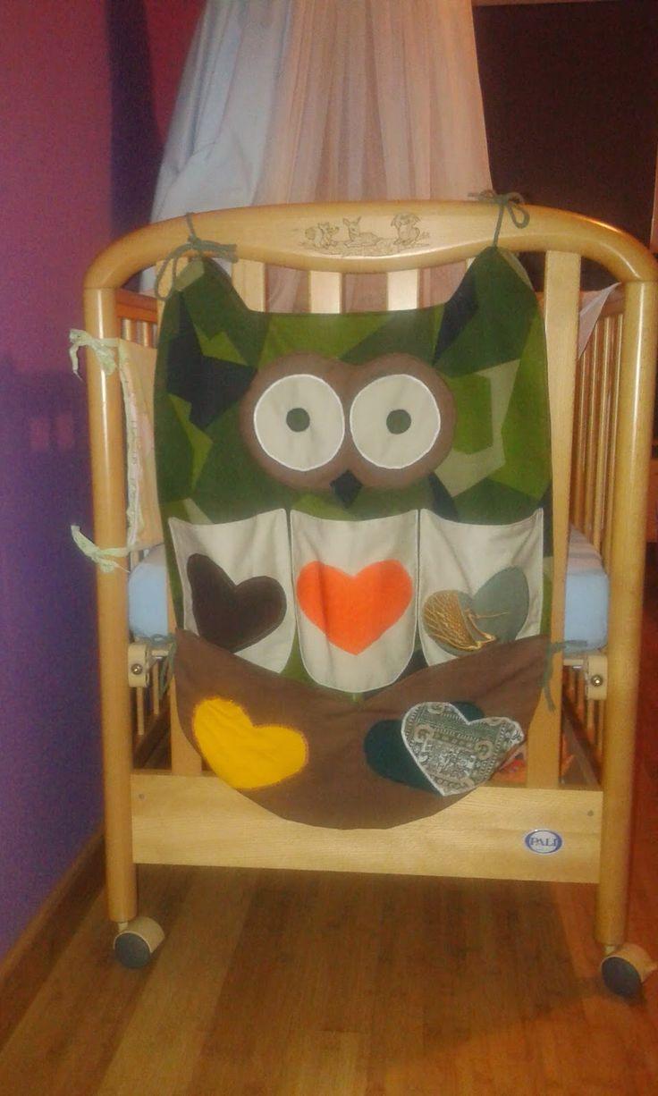 MEG Self Realization: Przybornik na łóżeczko w kształcie SOWY / Owl-shaped bed organizer / Organizador coruja para cama