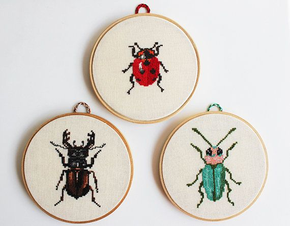 Hand embroidered hoop. Bugs or beetles. Small craft collection. Set of 3 hoops. Made to order on Etsy, $159.00