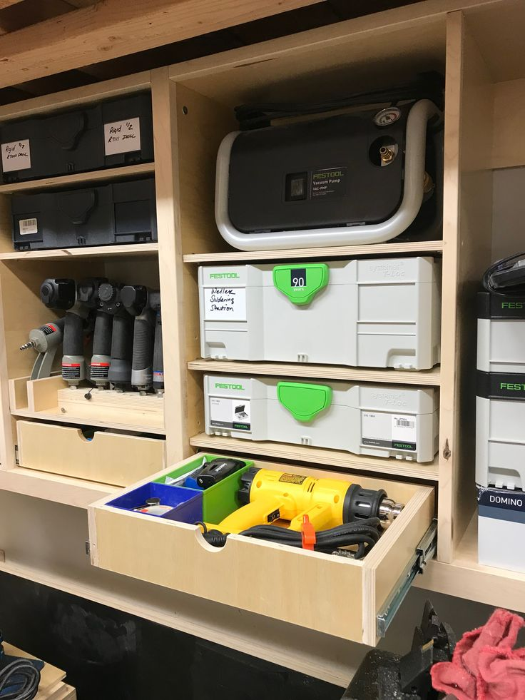 Garage Tooling Organization - systainer and vacsys shelving and storage. systainer, nail gun, and consumable storage.  Shop shelves, nailer, drawer, plywood, maple, festool, systainer, tanos, Dewalt, drill