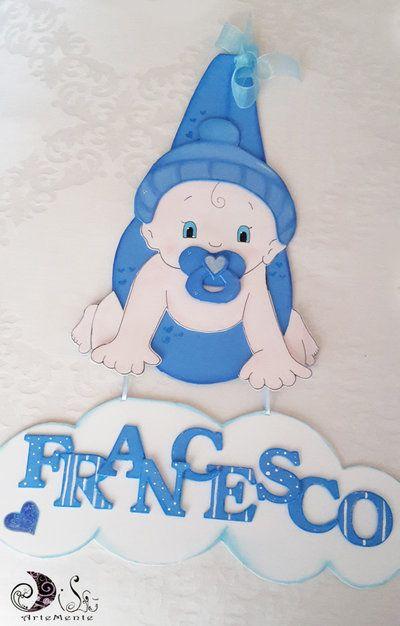 Fiocco nascita fagottino bebè Azzurro con nome nuvoletta personalizzato