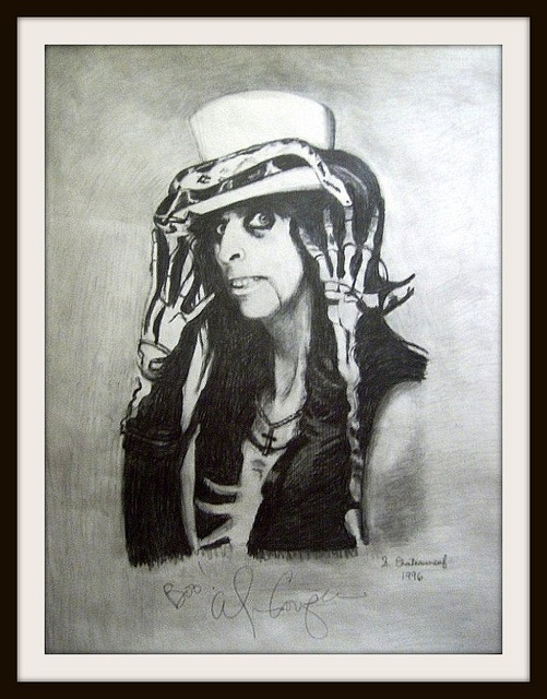 Alice Cooper - Drawing by snc145 - Autographed by Alice On Oct 31, 2008 At FoxwoodsCelebrities Pencildrawn, Pencildrawn Portraits