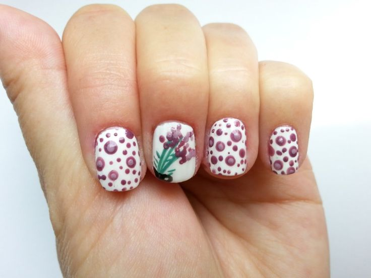 Lavender nail art, cute and easy by KaroNails