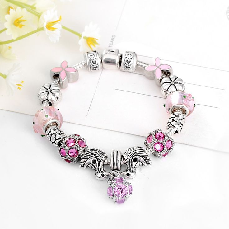 European Style Silver Crystal Charm Bracelet & Bangle //Price: $9.95 & FREE Shipping //     #style #accessory