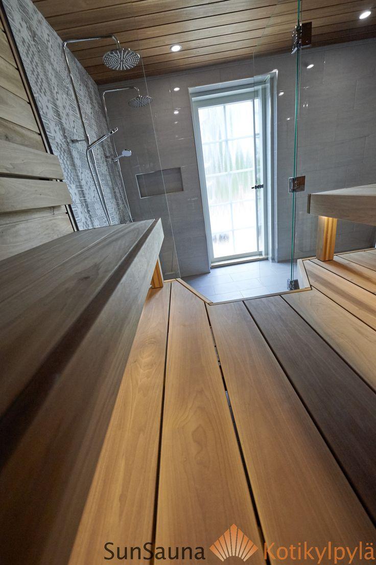 Sauna ja pesuhuone, Sun Sauna asuntomessut, thermo aspen sauna benches