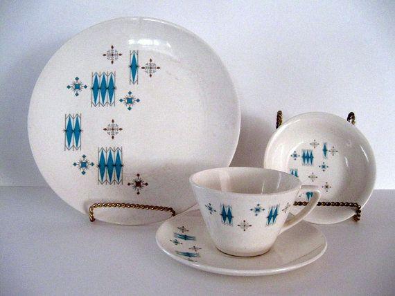 Mid Century Atomic Dinnerware Set 29 Pieces Turquiose