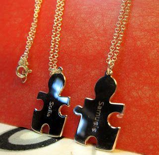 Collanaconnome collana puzzle con due ciondoli in argento