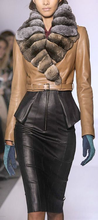 Leather Trends: Jean Claude Jitrois Leather Jacket and Leather Skirt  F/W 2013