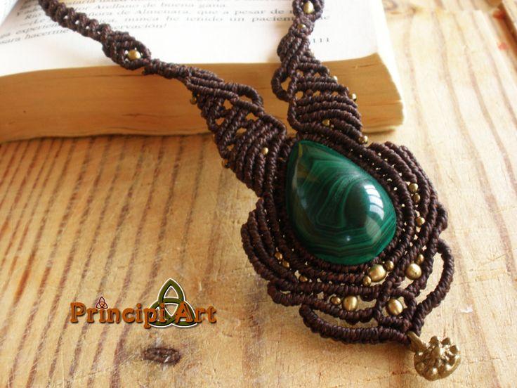 Collar macrame, Handmade macrame necklace, Macrame collier. de PrincipiArt en Etsy