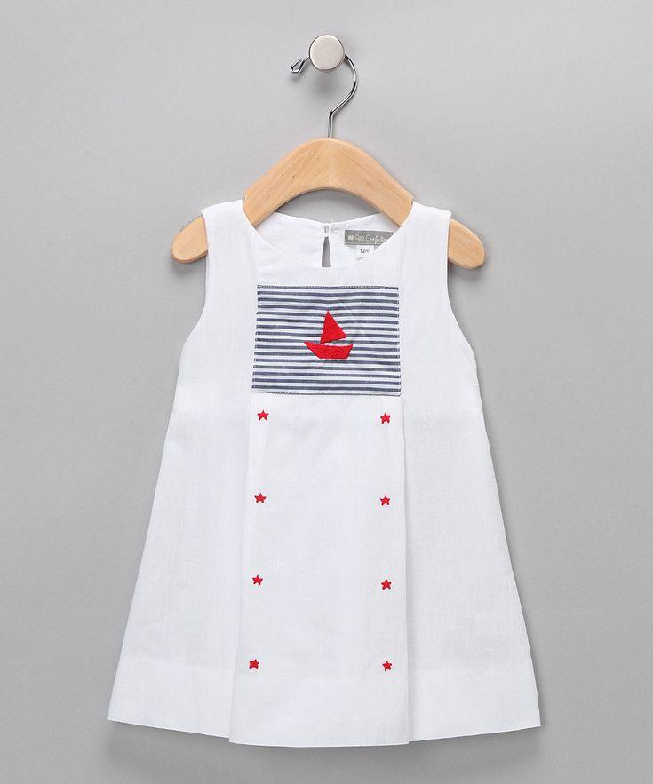 Petit Confection - White Sailboat & Stats Dress