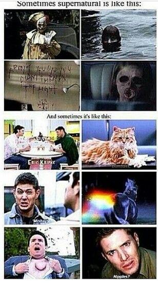 Two sides of Supernatural. Ah yes, season 1-2 and every season after season 4