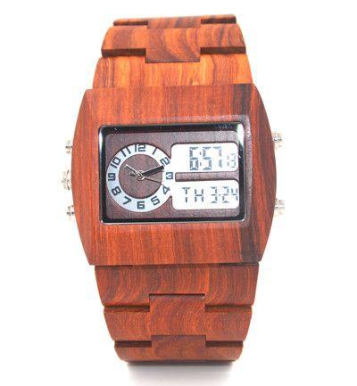 Glow in dark LED wood watch multi-time zone analog digital wood watch big size men stylish bewell wood watch