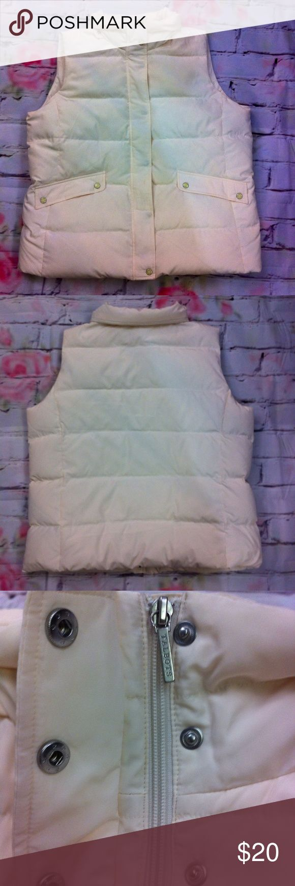 "Talbots down feather puffer vest Talbots puffer vest - size 1x (14-16) - cream - zip / button snap front - pocketed - polyester with down / feather fill - chest 50"" - length 28"" *flawed* missing collar trim and small spot on front Talbots Jackets & Coats Vests"