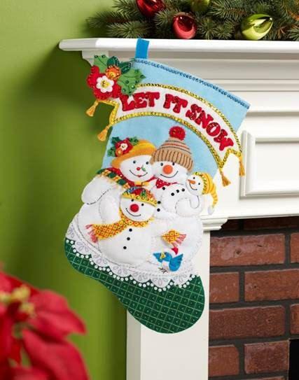 "SNOWMEN Mary Engelbreit 18"" Felt Appliqued Christmas Stocking"