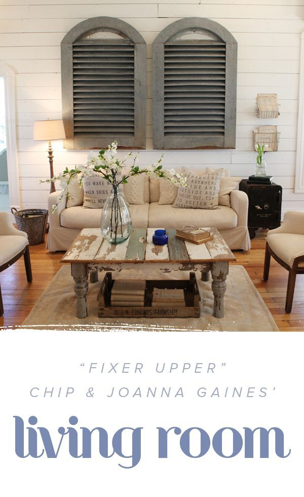 """We particularly love the hanging shutters in HGTV's """"Fixer Upper"""" Chip and @joannagaines_' living room. It looks rustic yet sophisticated, making it perfect for a farmhouse."""