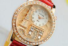 2014 женщин горный хрусталь часы relógio feminino Gogoey марка роскошные эйфелева башня часы женщин женская одежда платье кварцевые наручные часы женские(China (Mainland))