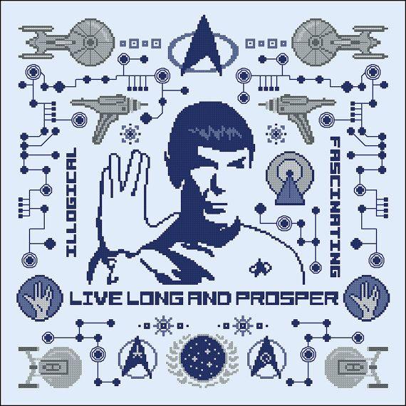 Star Trek Spock parody pillow sampler Cross by cloudsfactory