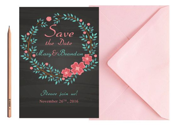 SAVE THE DATE Flowers Wedding Invite Blue by LoveArtsStationery