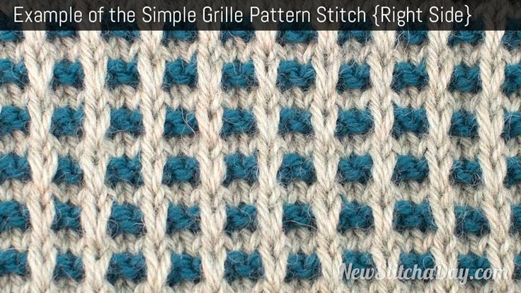 Example of the Simple Grille Pattern Stitch. (Right Side) colorwork knit stitch pattern
